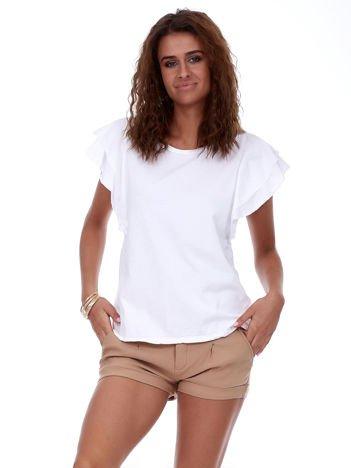 T-shirt biały z warstwowymi falbanami