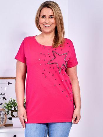 T-shirt ciemnoróżowy z gwiazdą z perełek PLUS SIZE