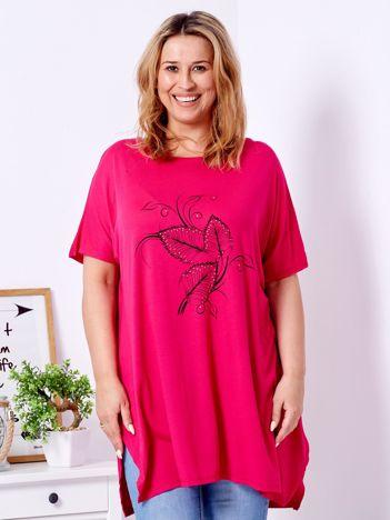 T-shirt ciemnoróżowy z motywem roślinnym PLUS SIZE