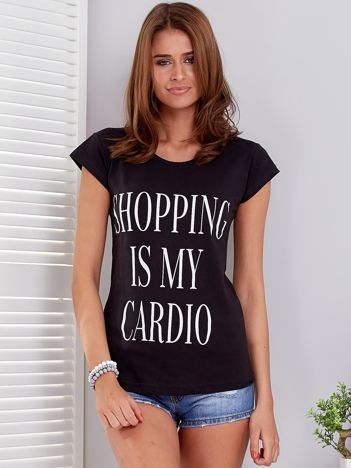 T-shirt czarny SHOPPING IS MY CARDIO
