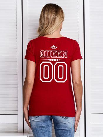 T-shirt czerwony damski dla par z nadrukiem QUEEN z tyłu