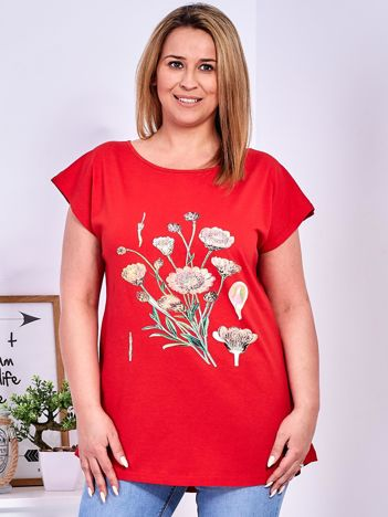 T-shirt czerwony z nadrukiem roślinnym PLUS SIZE