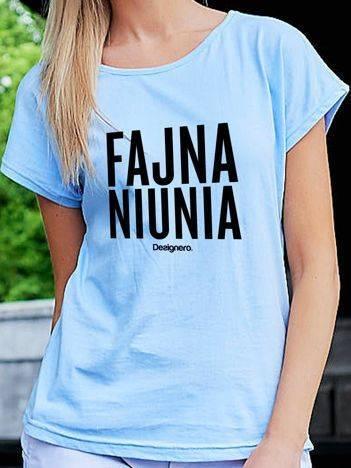 T-shirt damski FAJNA NIUNIA niebieski