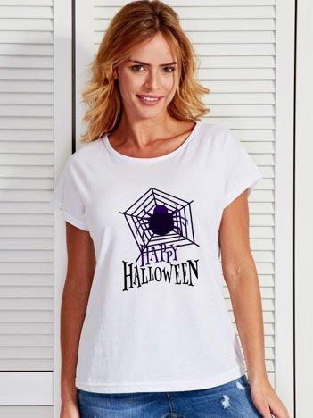 T-shirt damski Halloween z nadrukiem pajęczyny biały