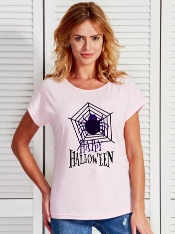 T-shirt damski Halloween z nadrukiem pajęczyny jasnoróżowy