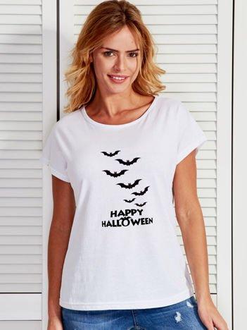 T-shirt damski Happy Halloween z nietoperzami biały