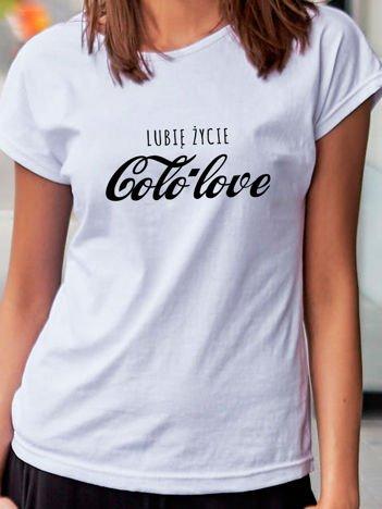 T-shirt damski LUBIĘ ŻYCIE COLO LOVE biały