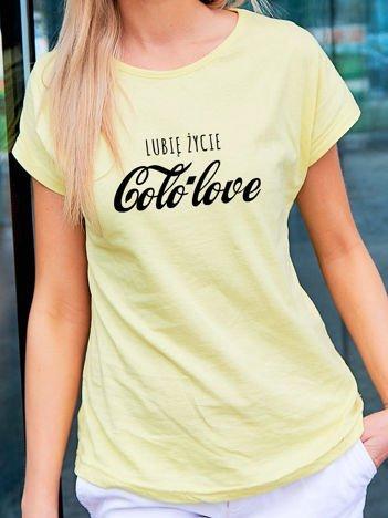 T-shirt damski LUBIĘ ŻYCIE COLO LOVE żółty