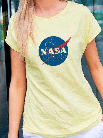 T-shirt damski NASA żółty