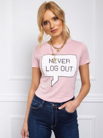 T-shirt damski NEVER LOG OUT różowy