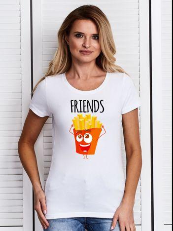 T-shirt damski biały z frytkami