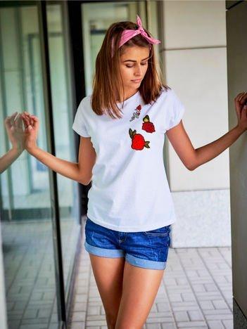 T-shirt damski biały z naszywkami KWIATY