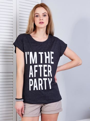 T-shirt damski ciemnoszary AFTER PARTY