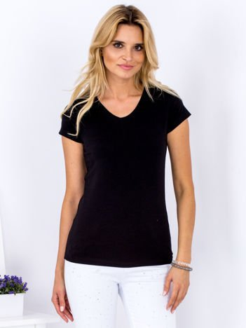 T-shirt damski czarny V-neck