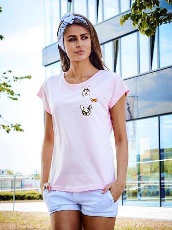 T-shirt damski jasnoróżowy z naszywkami DOGS