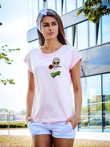 T-shirt damski jasnoróżowy z naszywkami MISFITS