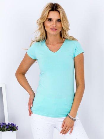 T-shirt damski miętowy V-neck