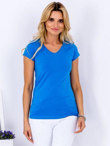 T-shirt damski niebieski V-neck