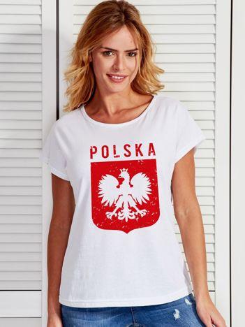 T-shirt damski patriotyczny POLSKA z Orłem Białym biały