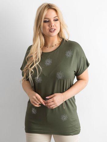 T-shirt damski plus size z aplikacją khaki