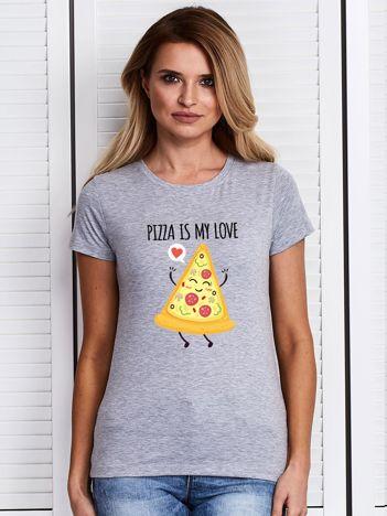 T-shirt damski szary z kawałkiem pizzy