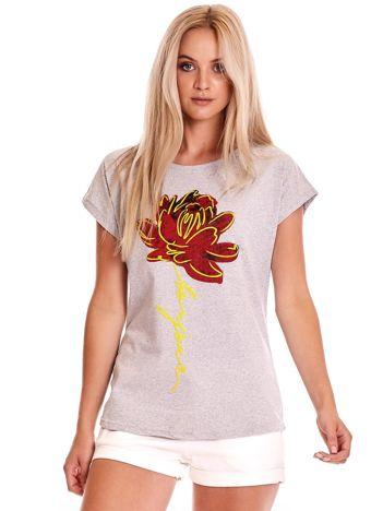 T-shirt damski szary z kwiatem