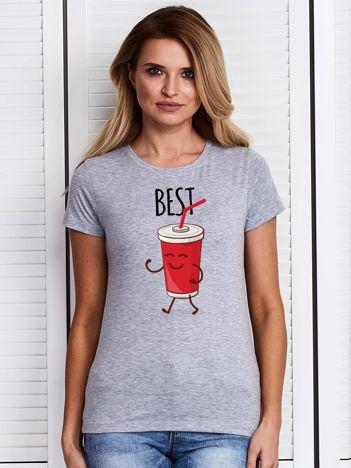 T-shirt damski szary z napojem