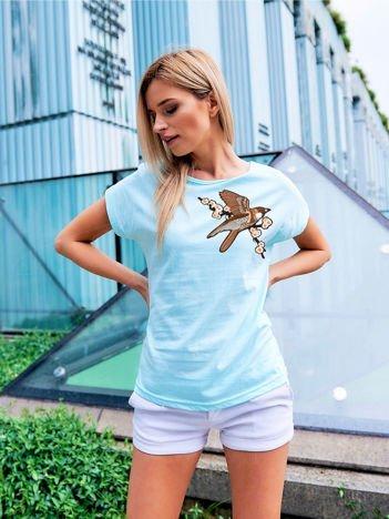 T-shirt damski turkusowy z naszywką BIRD