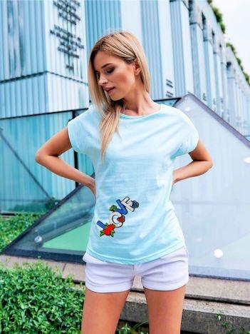 T-shirt damski  turkusowy z naszywką LOVE