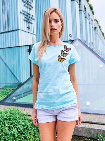 T-shirt damski turkusowy z naszywkami MOTYLE