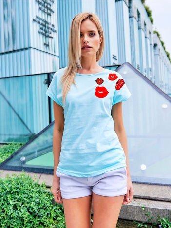 T-shirt damski turkusowy z naszywkami USTA