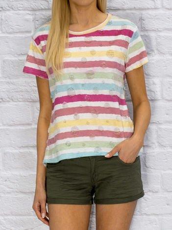 T-shirt damski w kolorowe paski biały