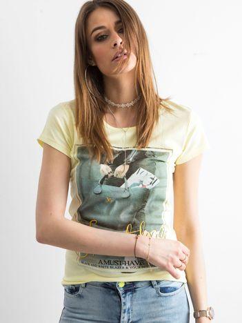 T-shirt damski z bawełny z nadrukiem żółty