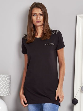 T-shirt damski z ćwiekami czarny