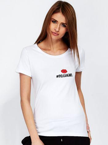 T-shirt damski z drobnym nadrukiem biały