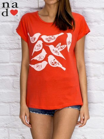 T-shirt damski z motywem ptaków czerwony