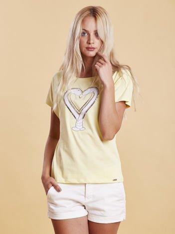 T-shirt damski z motywem węży żółty
