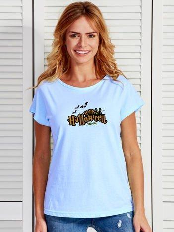 T-shirt damski z nadrukiem Happy Halloween niebieski