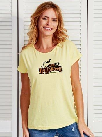 T-shirt damski z nadrukiem Happy Halloween żółty