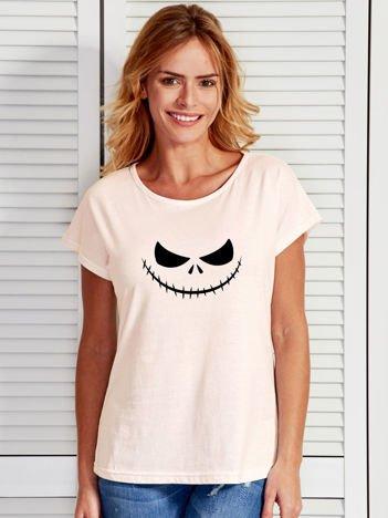 T-shirt damski z nadrukiem MIASTECZKO HALLOWEEN ecru