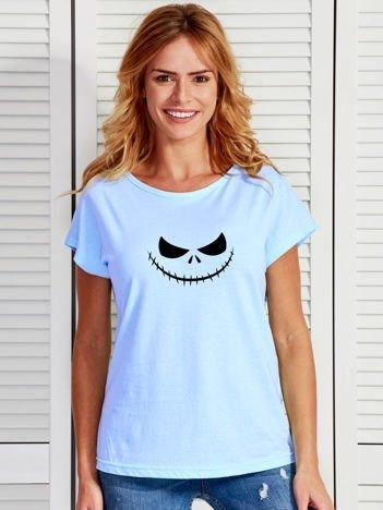 T-shirt damski z nadrukiem MIASTECZKO HALLOWEEN niebieski