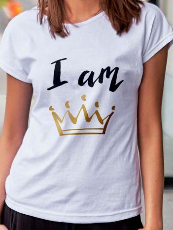 T-shirt damski z nadrukiem korony I AM THE QUEEN biały