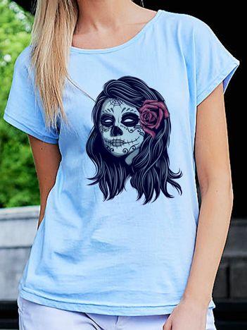 T-shirt damski z nadrukiem narzeczonej zombie niebieski