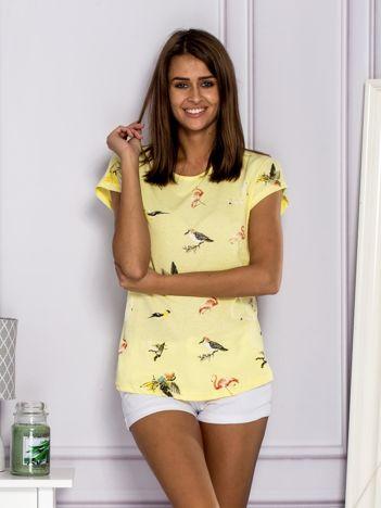 T-shirt damski z nadrukiem ptaków żółty