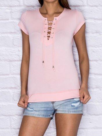 T-shirt damski z wiązaniem jasnoróżowy