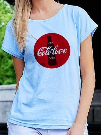 T-shirt damski z zabawnym nadrukiem Coca Cola niebieski