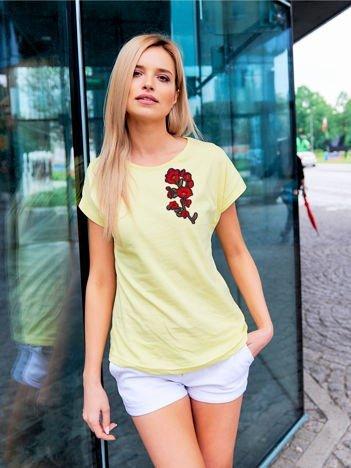 T-shirt damski żółty z naszywką GAŁĄZKA KWIATÓW