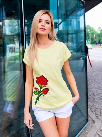 T-shirt damski żółty z naszywką cekinową DUŻY KWIAT