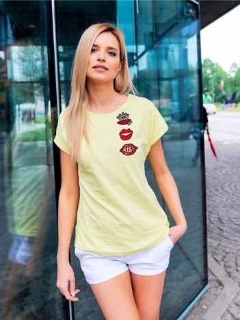 T-shirt damski żółty z naszywkami USTA