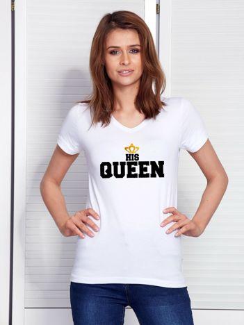 T-shirt dla zakochanych biały QUEEN